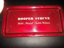 "RARE VINTAGE DECO RED METAL BAR TRAY HOOPER STRUVE TABLE WATERS 14.25"" X 7.5"""